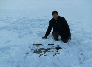 with EcoSono logo in the Wisconsin snow